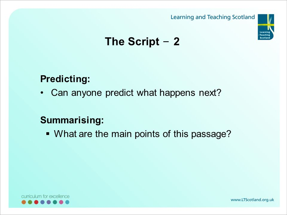 The Script – 2 Predicting: Can anyone predict what happens next