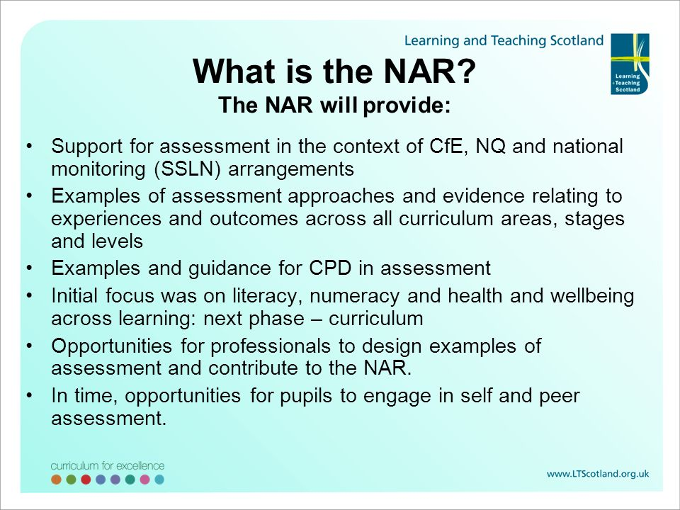 What is the NAR The NAR will provide: