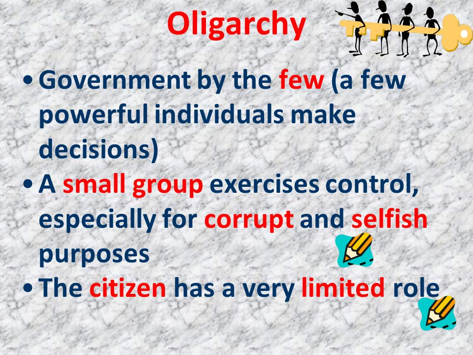 Oligarchy Government by the few (a few powerful individuals make decisions)