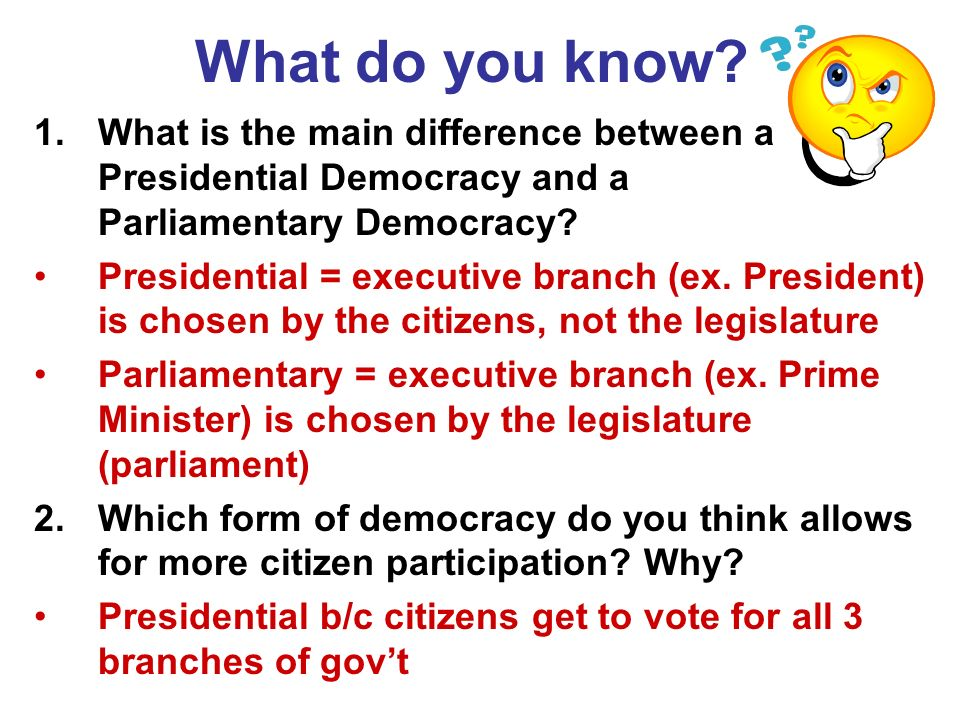 What do you know What is the main difference between a Presidential Democracy and a Parliamentary Democracy
