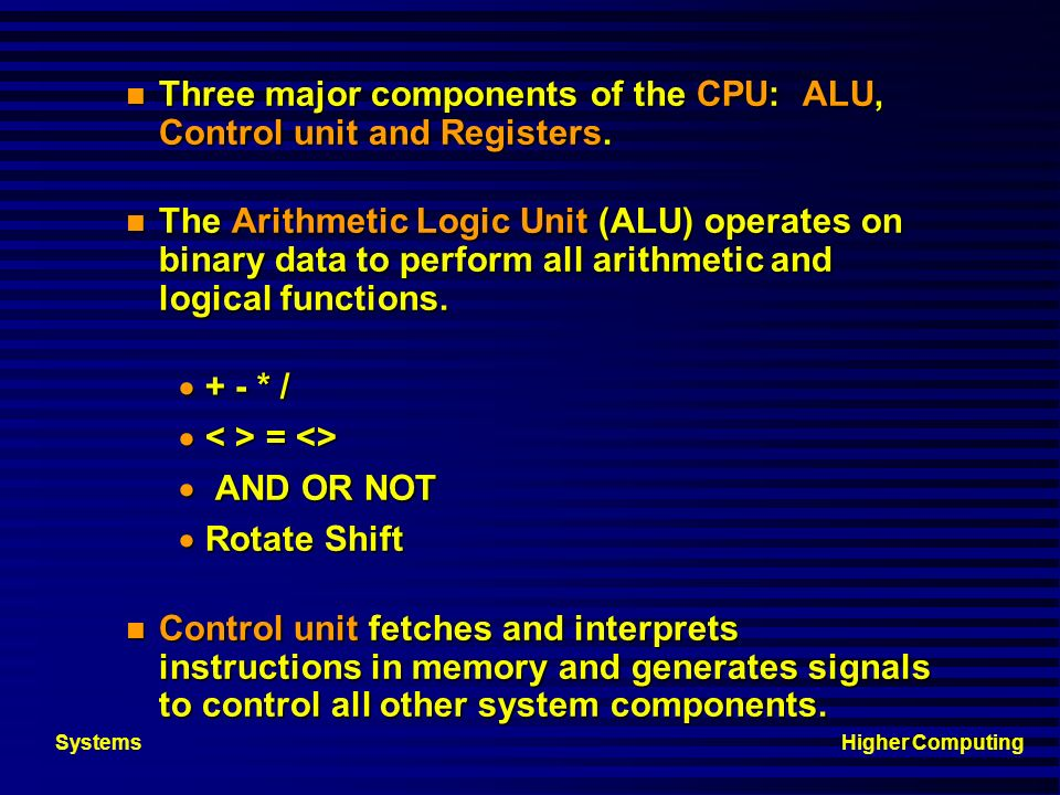 Three major components of the CPU: ALU, Control unit and Registers.