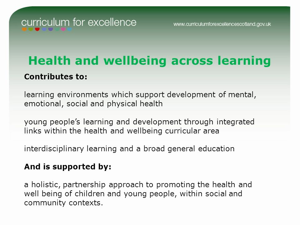 Health and wellbeing across learning