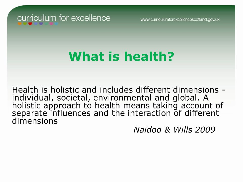 What is health Naidoo & Wills 2009