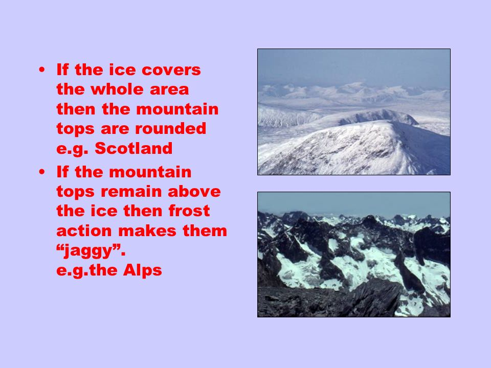 If the ice covers the whole area then the mountain tops are rounded e