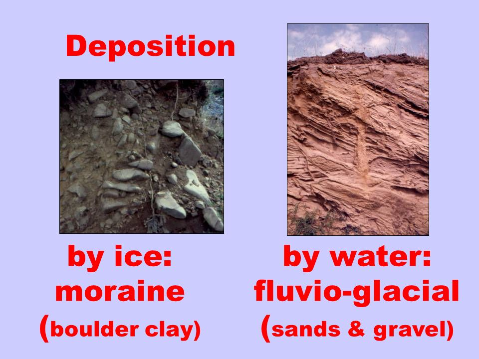 by ice: moraine (boulder clay)
