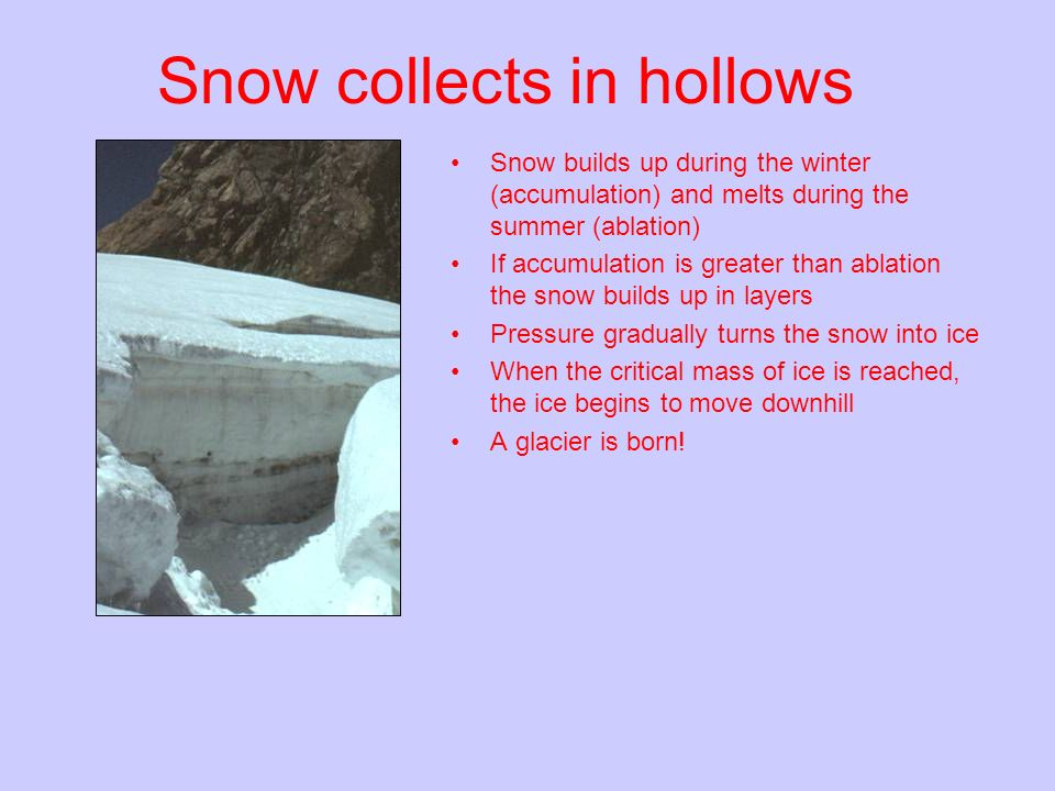 Snow collects in hollows