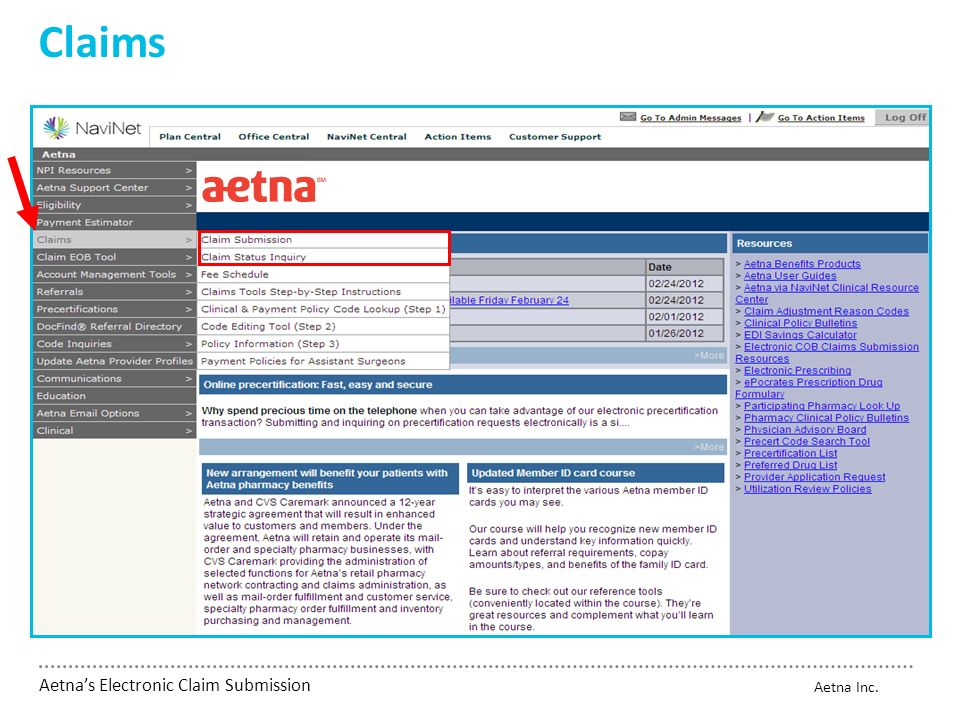 Aetna's Electronic Claim Submission - ppt video online download