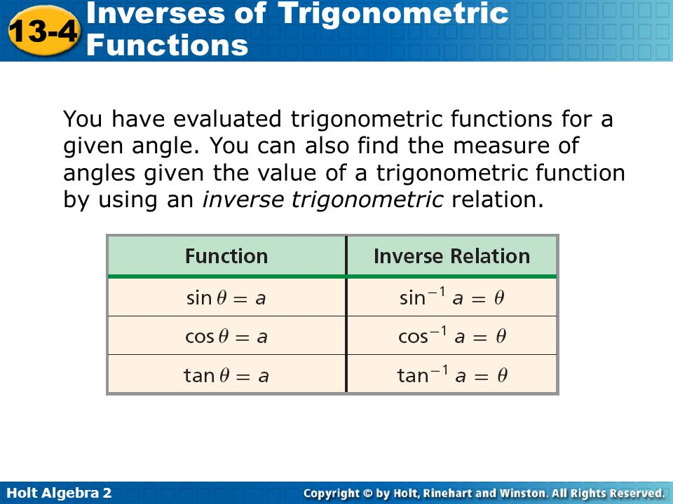 13-4 problem solving inverses of trigonometric functions
