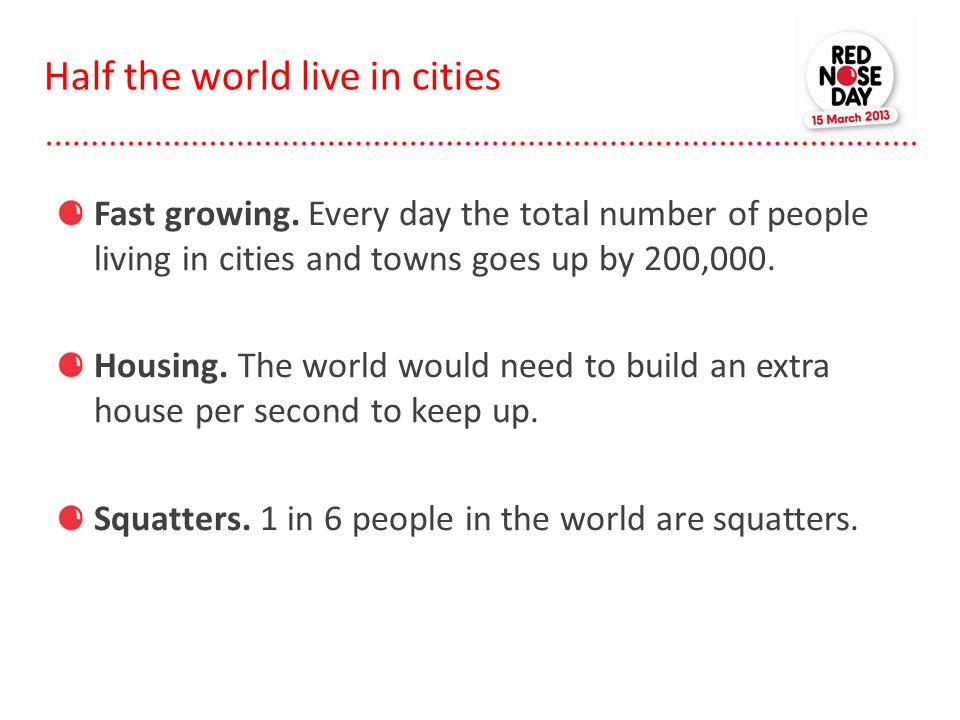 Half the world live in cities