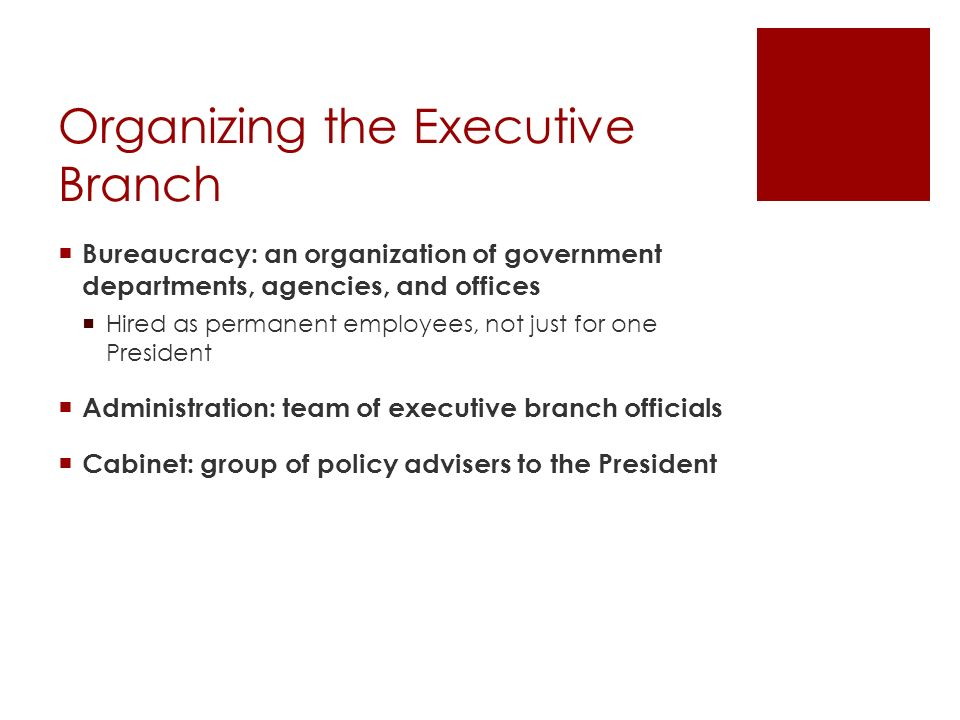 Organizing the Executive Branch