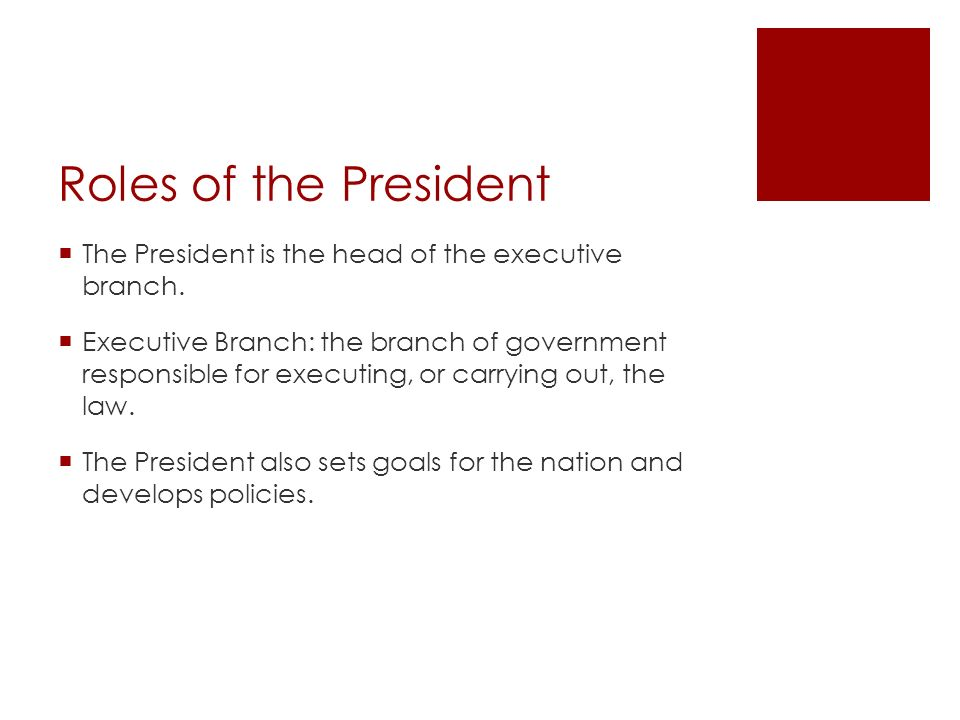 Roles of the President The President is the head of the executive branch.