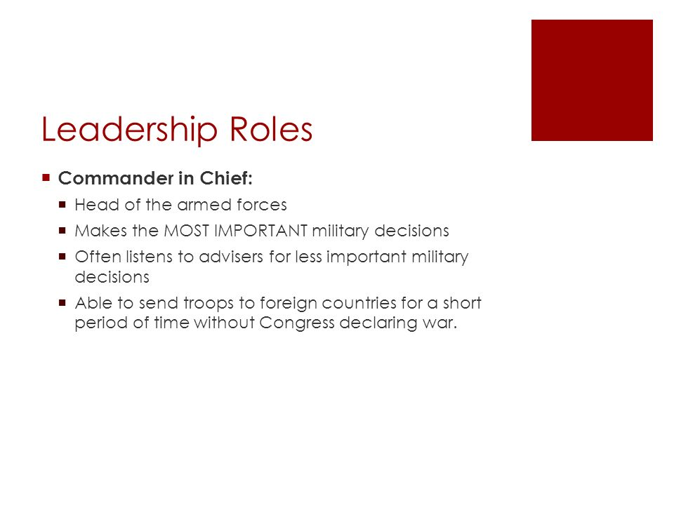 Leadership Roles Commander in Chief: Head of the armed forces