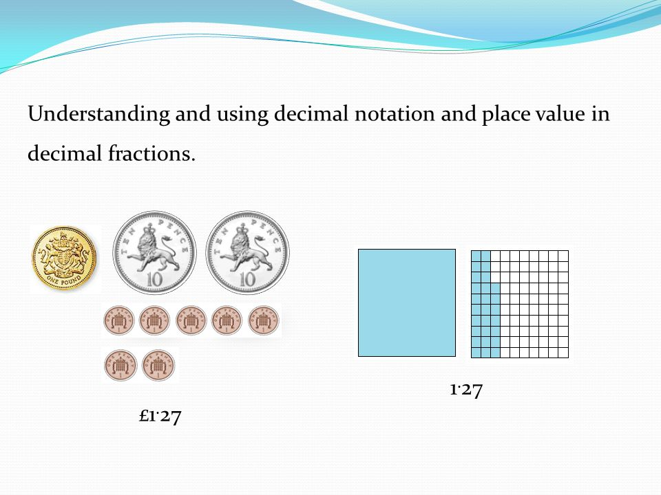 Understanding and using decimal notation and place value in decimal fractions.