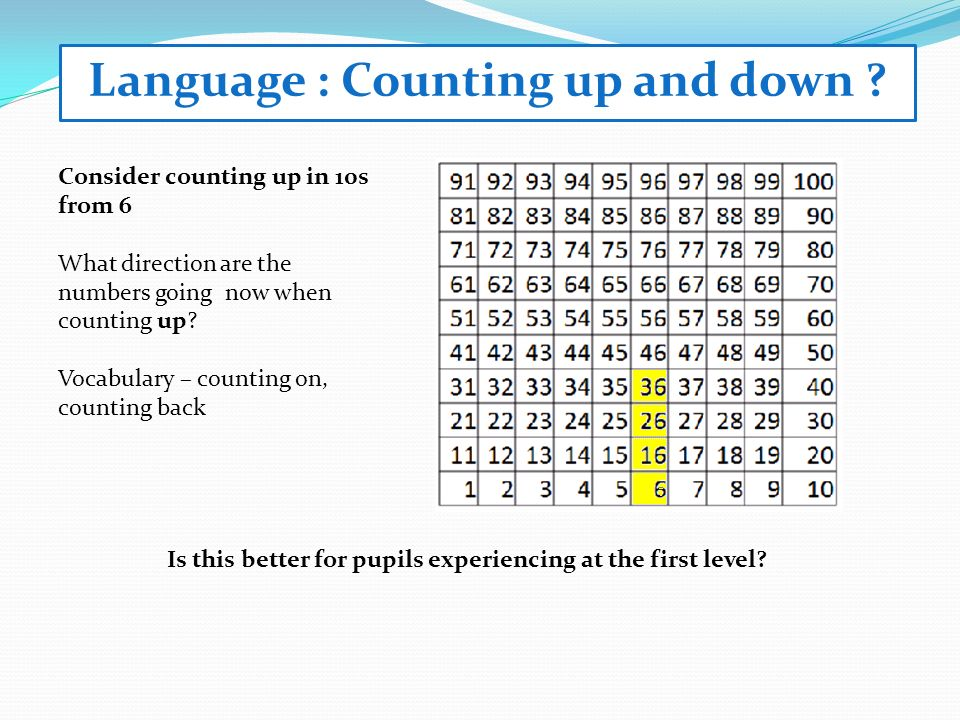 Language : Counting up and down