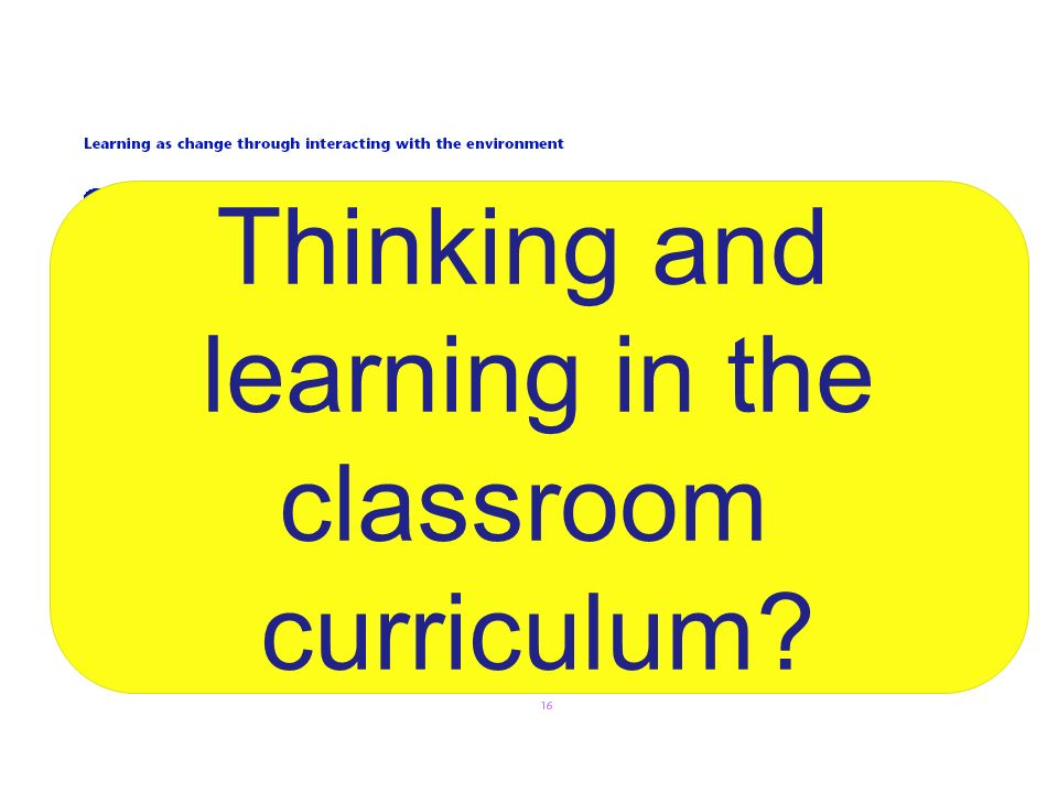 Thinking and learning in the classroom curriculum 19