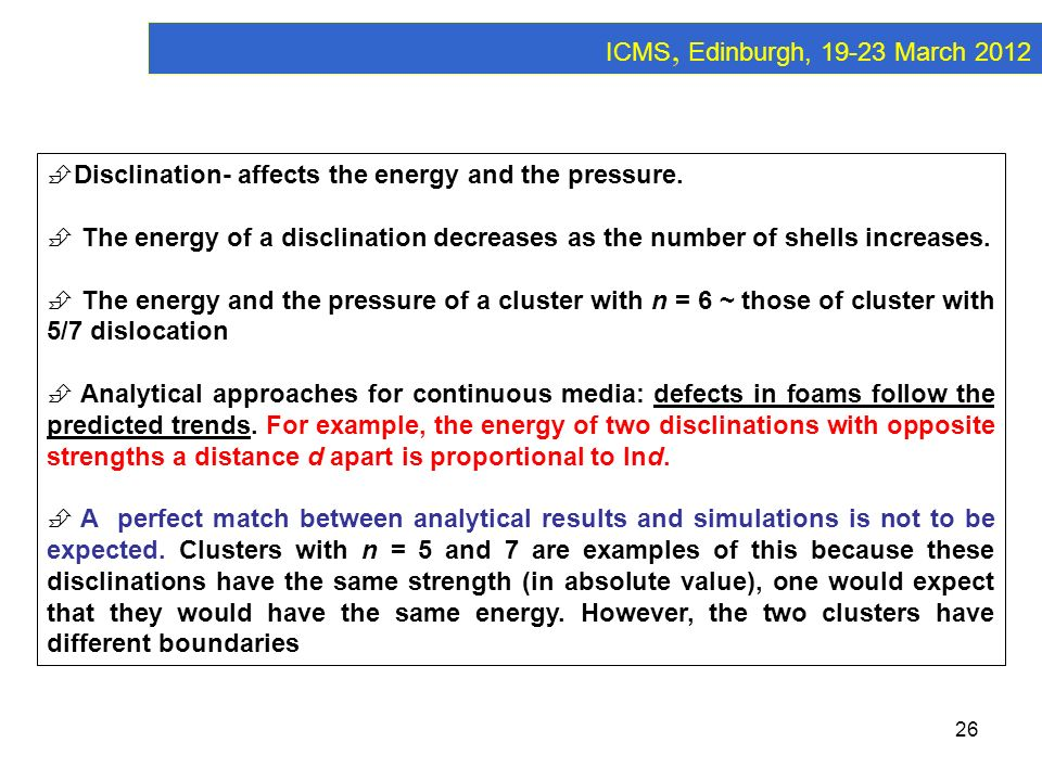 ICMS, Edinburgh, 19-23 March 2012 Disclination- affects the energy and the pressure.