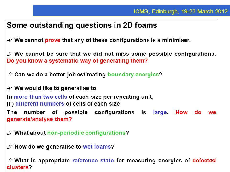 Some outstanding questions in 2D foams