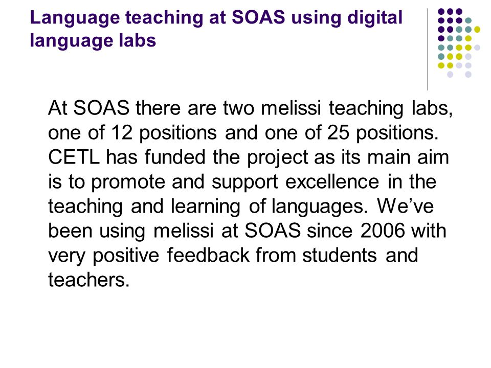 Language teaching at SOAS using digital language labs