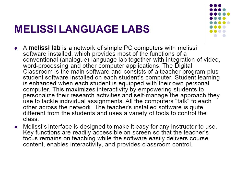 MELISSI LANGUAGE LABS