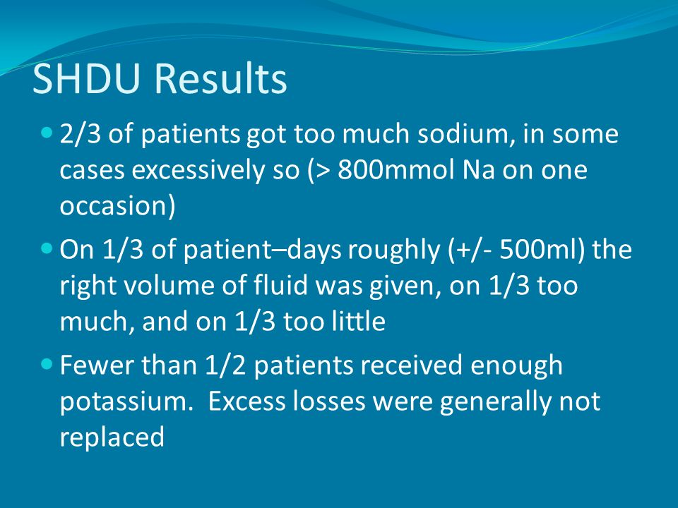 SHDU Results 2/3 of patients got too much sodium, in some cases excessively so (> 800mmol Na on one occasion)
