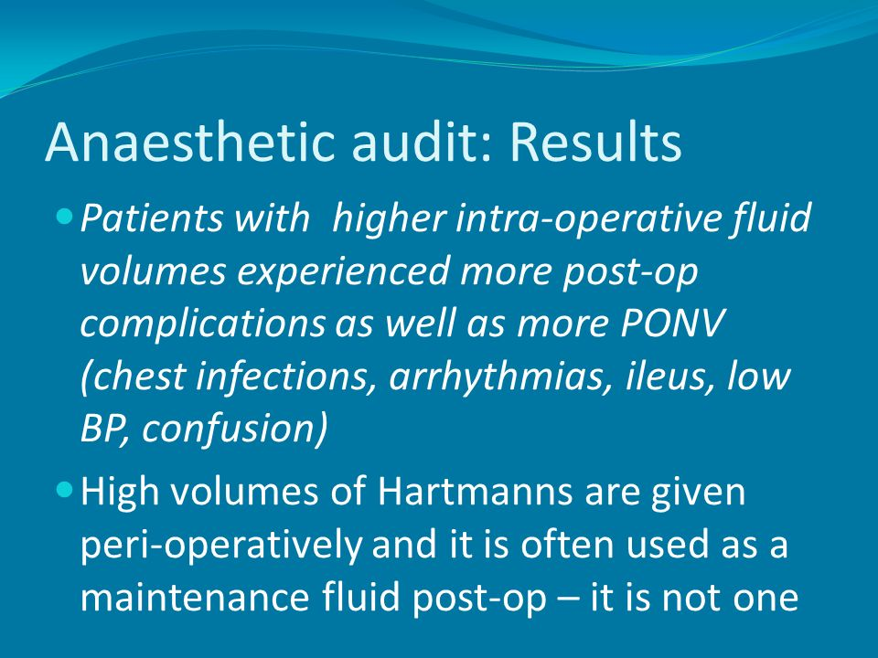 Anaesthetic audit: Results