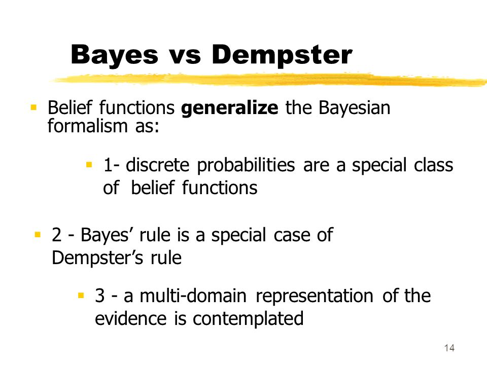 Bayes vs Dempster Belief functions generalize the Bayesian formalism as: 1- discrete probabilities are a special class of belief functions.