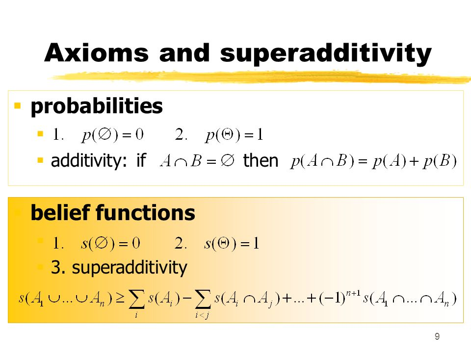 Axioms and superadditivity
