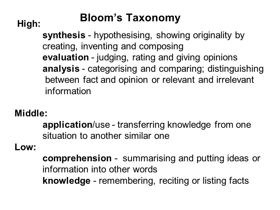 Bloom's Taxonomy High: