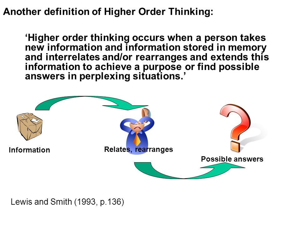 Another definition of Higher Order Thinking: