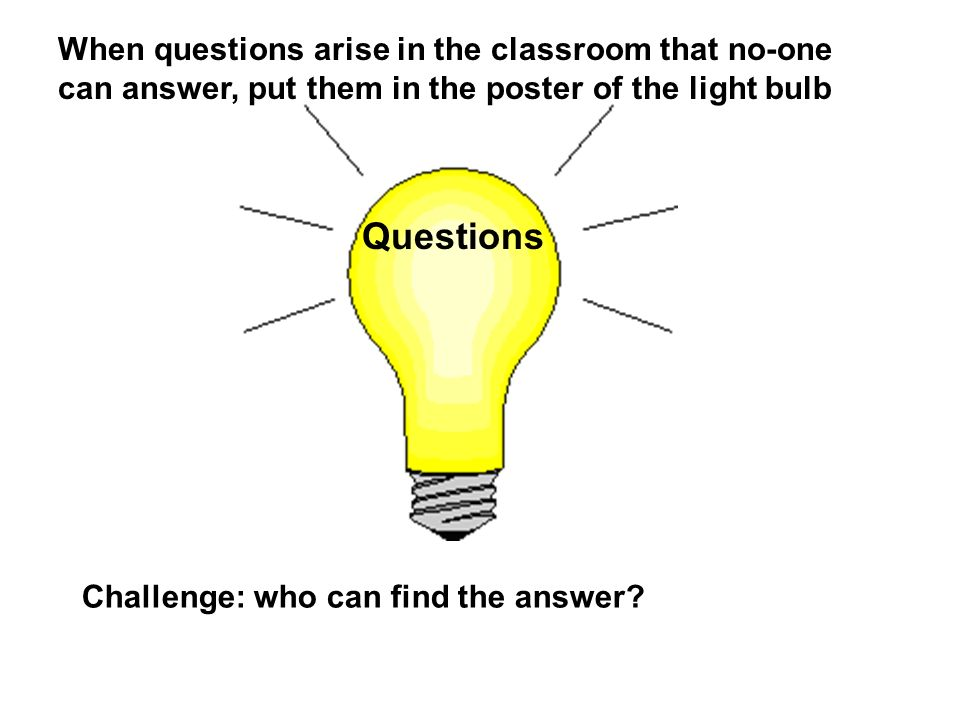 When questions arise in the classroom that no-one can answer, put them in the poster of the light bulb