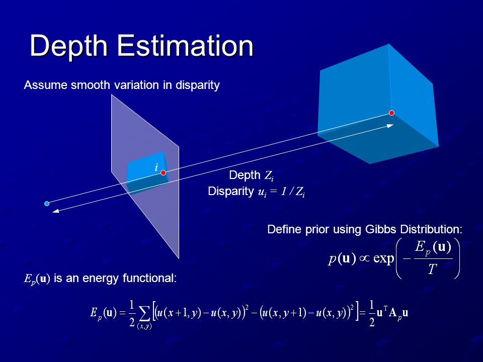 Depth Estimation Assume smooth variation in disparity i Depth Zi