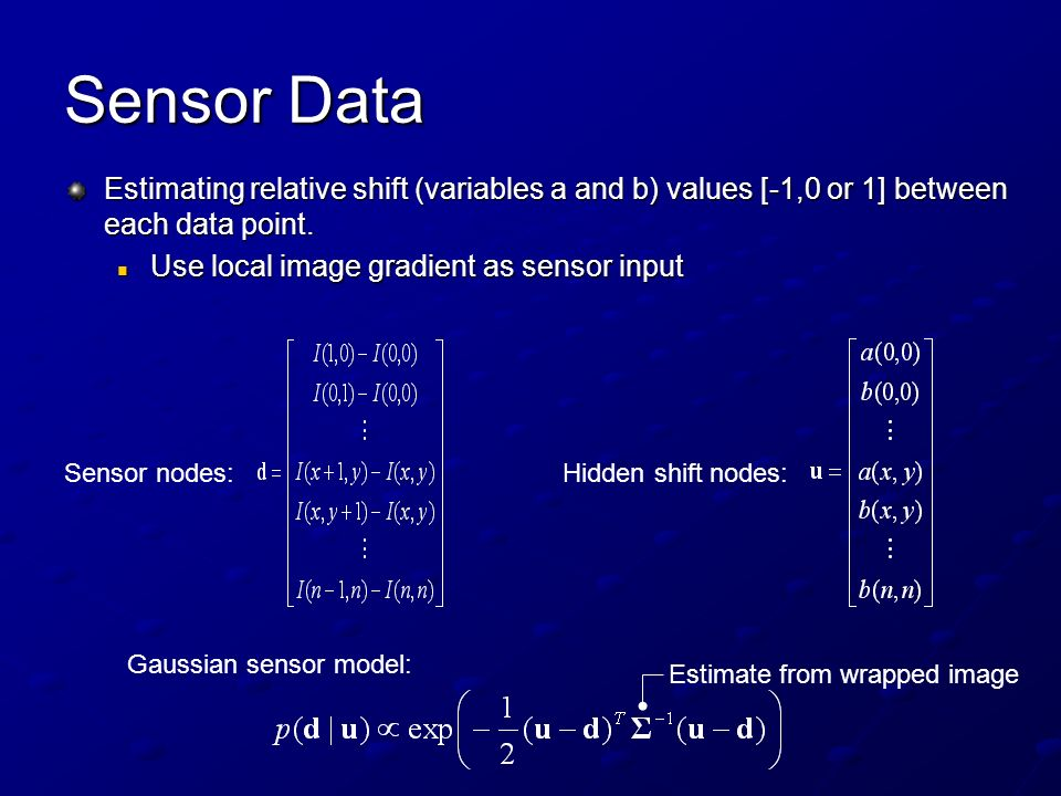 Sensor Data Estimating relative shift (variables a and b) values [-1,0 or 1] between each data point.