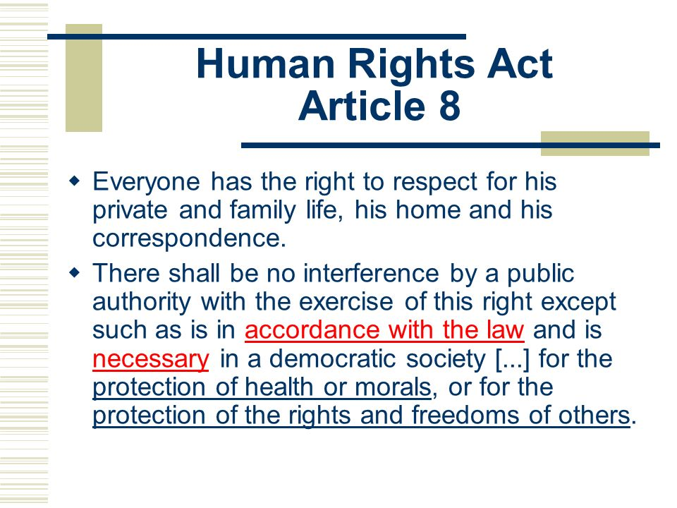 Human Rights Act Article 8