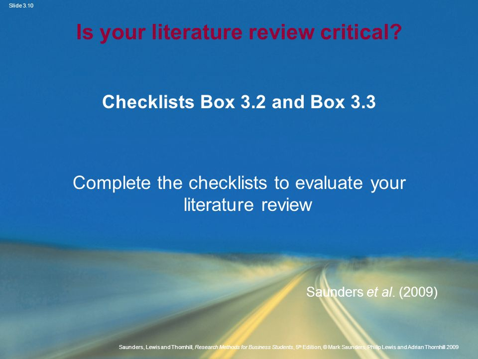 dissertation literature review checklist Dissertation proposals & writing dissertations ► literature reviews ◄ previous: present it correctly next: avoiding plagiarism ► literature review checklist make sure you.