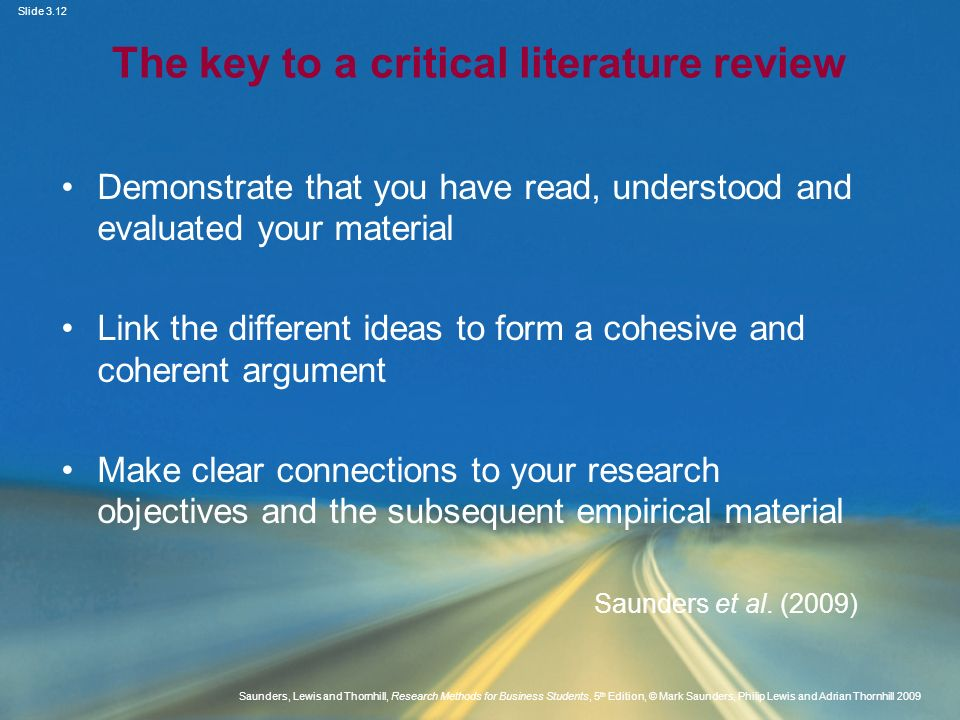 The key to a critical literature review
