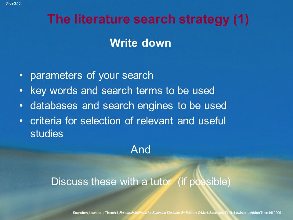 The literature search strategy (1)