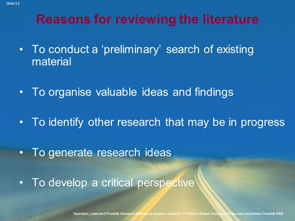 Reasons for reviewing the literature
