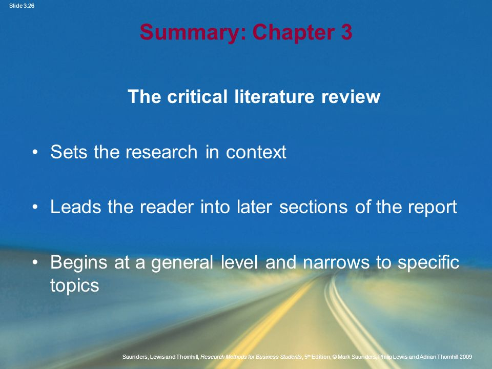 The critical literature review