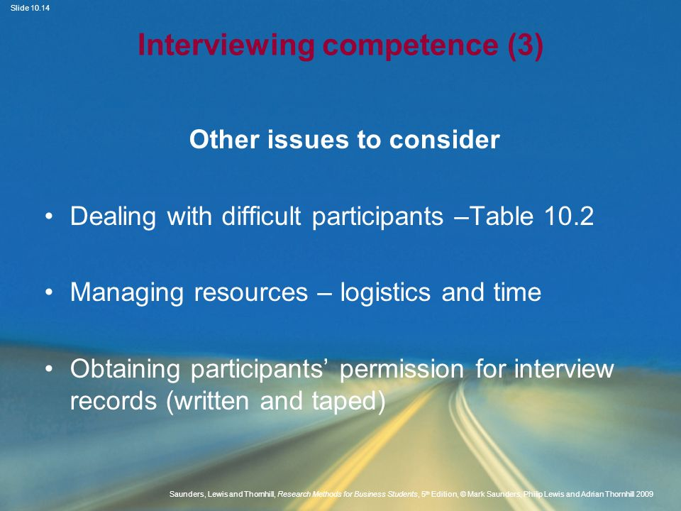 Interviewing competence (3)