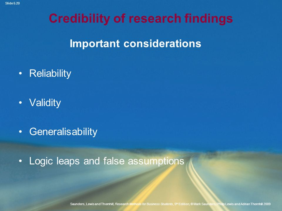 Credibility of research findings