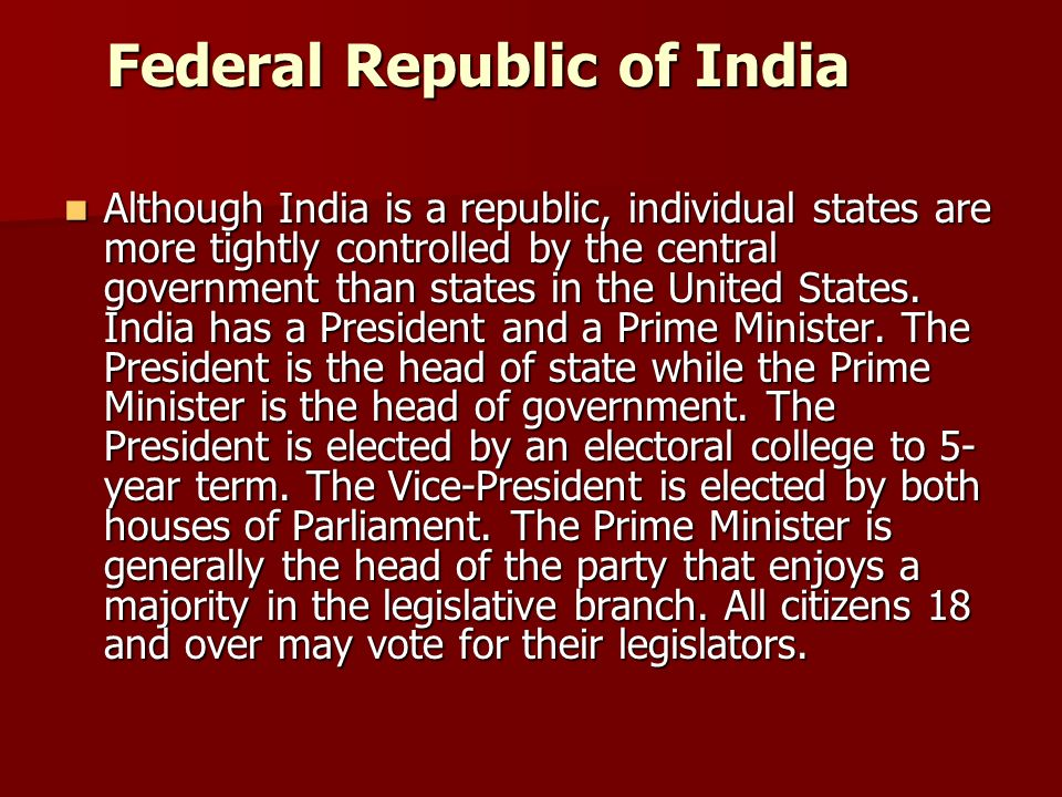 Federal Republic of India