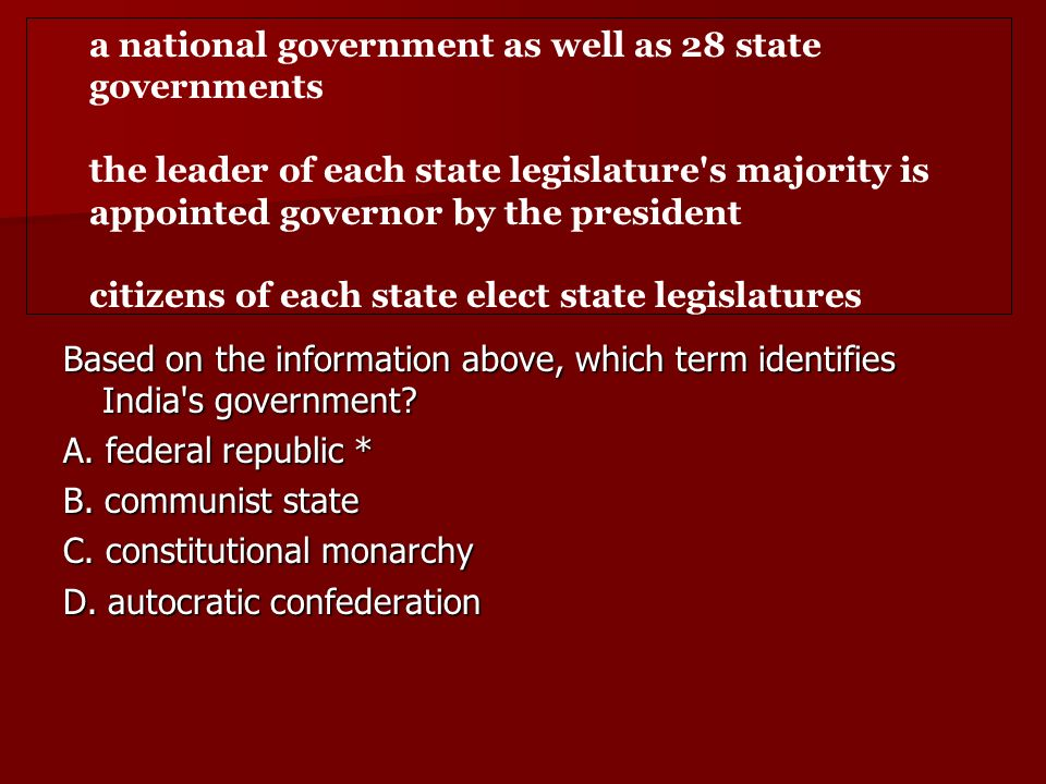 a national government as well as 28 state governments