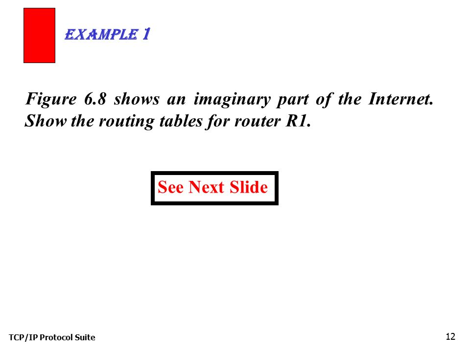 Example 1 Figure 6.8 shows an imaginary part of the Internet. Show the routing tables for router R1.