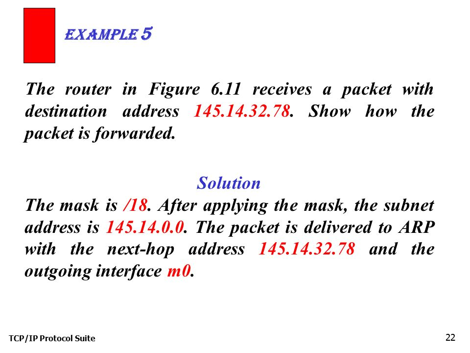 Example 5 The router in Figure 6.11 receives a packet with destination address 145.14.32.78. Show how the packet is forwarded.