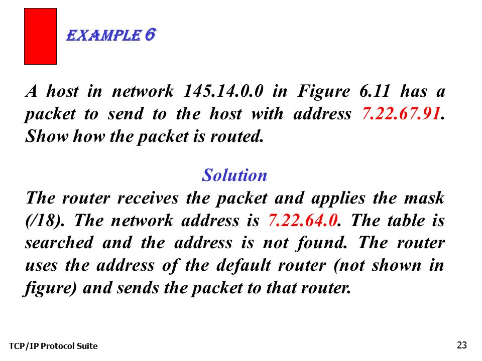 Example 6 A host in network 145.14.0.0 in Figure 6.11 has a packet to send to the host with address 7.22.67.91. Show how the packet is routed.