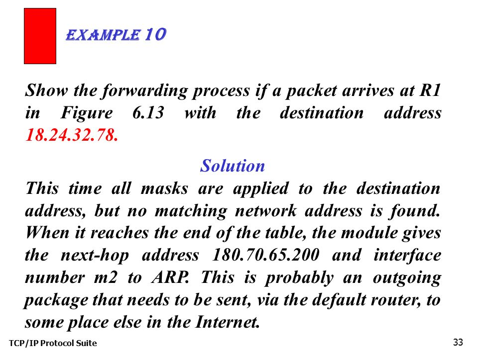 Example 10 Show the forwarding process if a packet arrives at R1 in Figure 6.13 with the destination address 18.24.32.78.