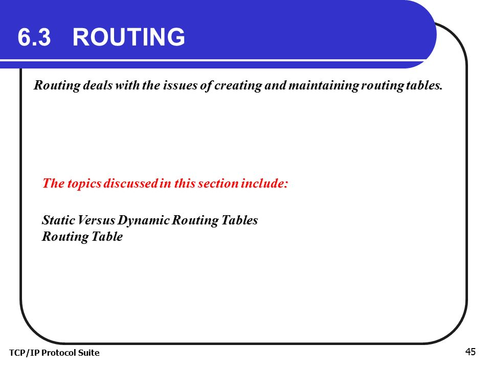 6.3 ROUTING Routing deals with the issues of creating and maintaining routing tables. The topics discussed in this section include: