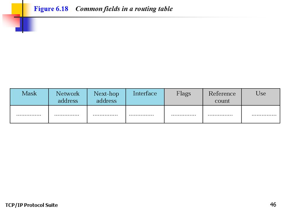 Figure 6.18 Common fields in a routing table