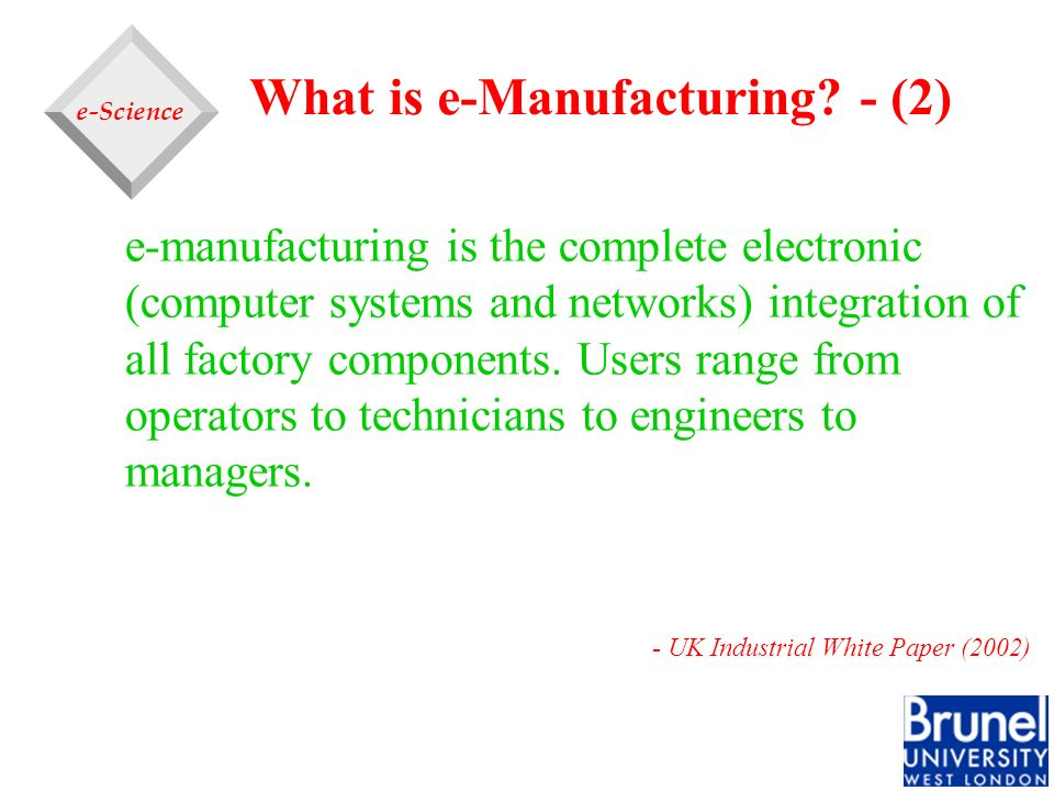 What is e-Manufacturing - (2)