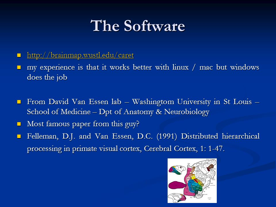 The Software http://brainmap.wustl.edu/caret